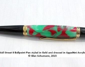 Stylus Ballpoint Pen Handmade Gold Appeltini Acrylic