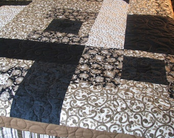 Queen Quilt - Black and Brown Art Quilt