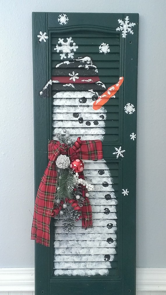 Shabby Chic Shutter Snowman Holiday Christmas Winter Painting