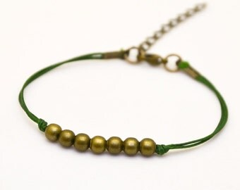 Bronze beads bracelet, green cord bracelet with bronze round beads, dainty bracelet, minimalist jewelry, gift for her, bridesmaids gift