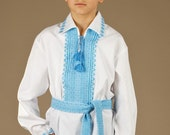 Ukrainian embroidered shirt for boys. Vyshyvanka boys cotton. Traditional ukrainian embroidery. Color of embroidery red, brown, blue, green