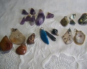 CLEARANCE SALE ~ Beautiful Lot of 20 Gemstone Pendants Polished ~ Jasper, Jadite, Amethyst, Agate and more