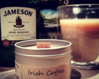 Irish Coffee. 8oz Soy Candle Tin with Wood Wick