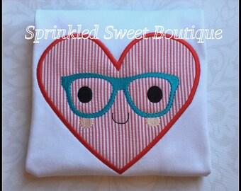 Nerdy Nerd Heart Valentines Day Applique Shirt  - Boys or Girls