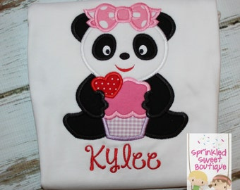Panda Love Valentine's Day Monogram Appliqué Shirt