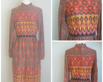 Vintage 1970's Polyester Mock Neck Tribal Print Dress