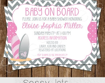 Baby on Board Baby Shower Invitation - Surfer Baby Shower Invite - Pink Grey Gray