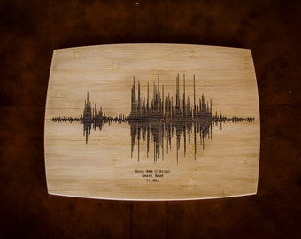 Heart Beat Etching on Bamboo