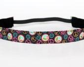 """Bright Peace Sign Non-Slip Headband 1"""", NoSlip Headband, NonSlip Headband, Peace Signs, Yoga, Running, Exercise, Spinning, Fitness, 5k, Walk"""