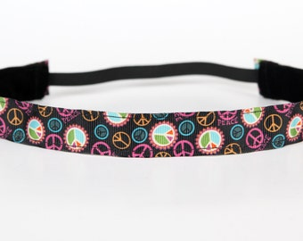 "Bright Peace Sign Non-Slip Headband 1"", NoSlip Headband, NonSlip Headband, Peace Signs, Yoga, Running, Exercise, Spinning, Fitness, 5k, Walk"