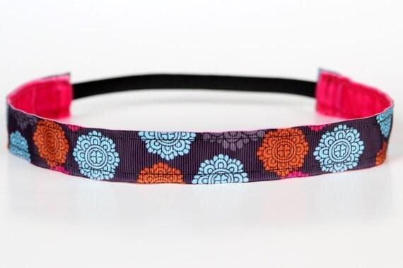 """Zen Garden Medallion Non-Slip Headband 1"""", Yoga Headband, NoSlip Headband, NonSlip Headband, Yoga, Running, Exercise, Mother's Day Gift, 5k"""