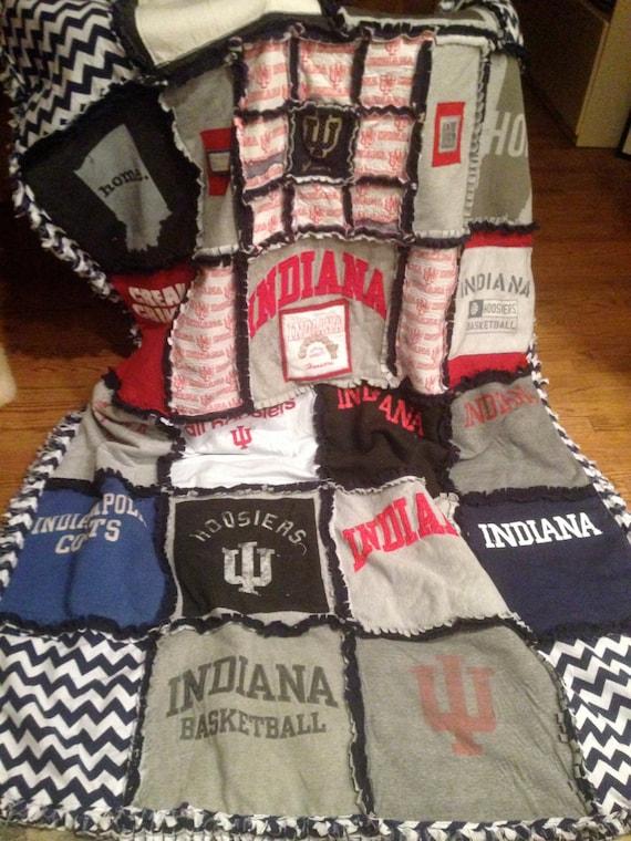 Custom Made Ragged T-Shirt Blanket/Quilt Memory Blanket, Indiana Hoosiers Blanket,