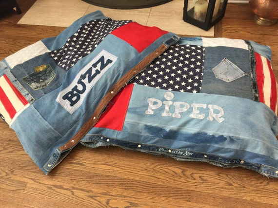 Extra Large Denim Customized Dog Bed