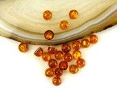4mm  - 6pice set - Natural Baltic Amber cabochon - Light cognac - round cabochon  [c3]