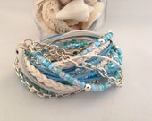 Leather Wrap Bracelet, Womens Leather Bracelet, Boho Leather Wrap Bracelet, Tropical Caribbean Turquoise Blue White and Silver, Surfwear
