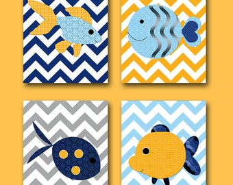 Sea Baby Nursery Decor Baby Boy Nursery Decor Kids Art Kids Wall Art Children Art Print Baby Nursery Print Fish Nursery Yellow set of 4