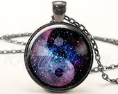 Nebula Yin Yang Necklace, Soft Grunge Galaxy Pendant, Indie Hipster Space Necklace (1991G1IN)