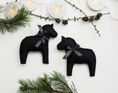 Christmas decorations felt horse ornament set of 2 natural winter home decor gift idea horse lovers