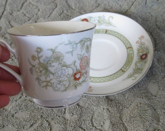 Mikasa Kabuki  Teacup and Saucer Sets  Platinum Trim Very good One set included. 3 sets available. Use quantity button