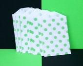 "GREEN - 20 Pink Polka Dot Mini Bitty Bags - 2.75""x4"""