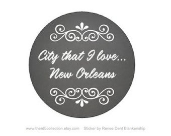 New Orleans Stickers - Chalkboard Sticker - New Orleans Typography - City that I love New Orleans - Envelope Stickers - theRDBCollection