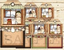 Printable Primitive Snowmen Christmas Gift Tags Digital PDF