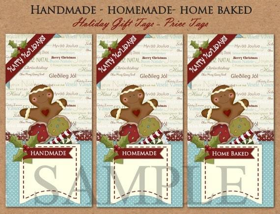 Handmade Homemade Home Baked Christmas Gift Tags Price Tags