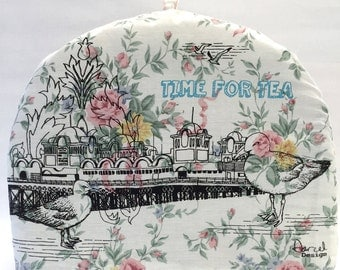 Southsea Pier Tea Cosy, Hand printed, screen print, upcycled fabric.
