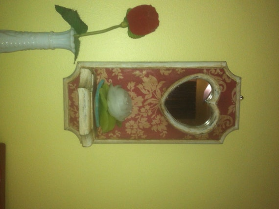 Cream Candle Wall Lights : Red and Cream Floral Candle Wall Sconce with Heart Mirror Hand