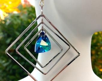 Swarovski Triangle Earrings, Bermuda Blue, Large Dangles, Geometric Earrings, Shape Earrings, Peacock Blue