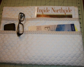LAVENDER STREET COLLECTION--Best Seller--Quilted Elegant Cream Matelassé Dots with Ivory Braid Trim