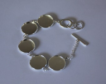 5 x Silver plated Bracelets each with 5 x 16mm trays