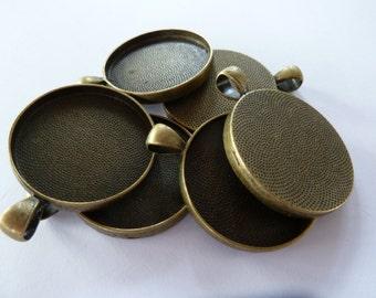10 x Round Antique Bronze 30mm pendant trays - blank bezel cabochon setting