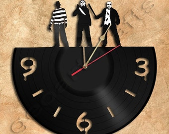 Horror Wall Clock Vinyl Record Clock Upcycled Gift Idea