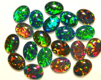 Synthetic Loose Triplet Opal Stones Parcel lot of 8x6mm Oval 20 pieces. item 80088.
