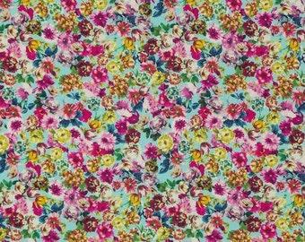 Swafing Baumwollstretch Stoff Blumen bunt