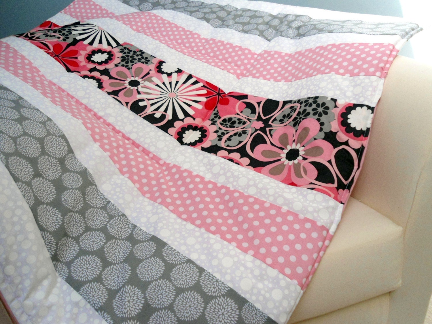 Baby Playmat Padded Floor Blanket Personalize Pink Flowers
