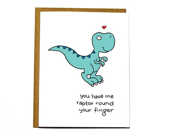Raptor dinosaur funny Valentines Day card, I love you card, wedding card