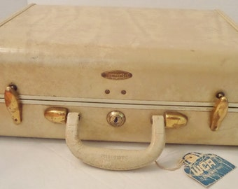Samsonite Cream and Brass Hardside Travel Case, Shwayder Bros. Inc., Vintage