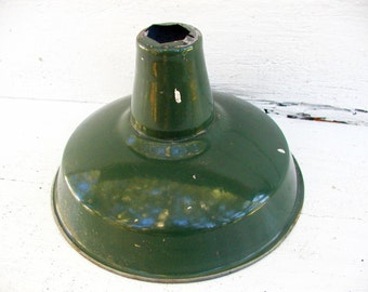 "Vintage Gas Station Light Service Pump Green Enamel 12"" Flood Pendant Lamp Shade Antique Industrial Shade"