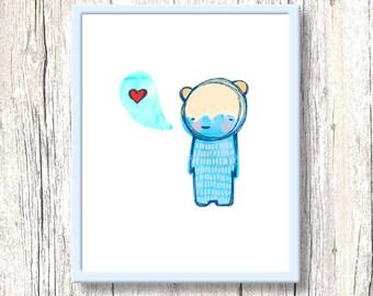 WATERCOLOR LOVE nursery art print. Printable cute character watercolour blue illustration. Red heart kids room wall decor. Digital download.