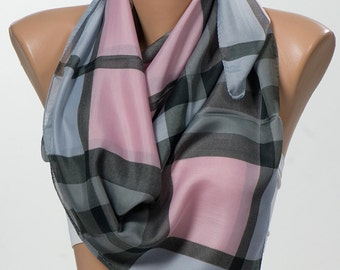 Pink and Gray Plaid Scarf for her. Fashion Scarf. Headband. Neck Wrap. Mothers Day. FREE Shipping.
