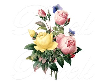 ROSES bouquet Instant Download, digital images, digital clipart, digital roses, Digital Download, wedding clipart Redoute 031