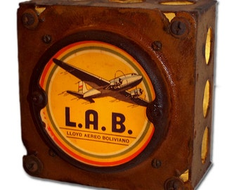 Lloyd Aereo Boliviano Airlines Night Light Luggage Label industrial chic