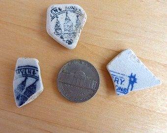3 beach SEA POTTERY SHARDS with Lettering Backstamps Antique Scottish