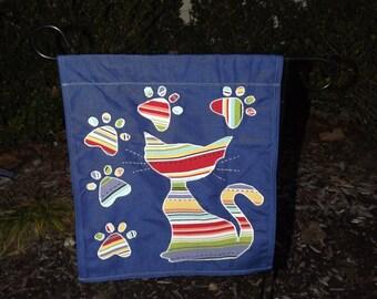 Multicolor Kitty Paw Print Garden/Yard Flag
