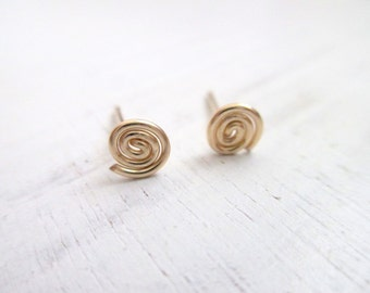 Spiral stud earrings, small post earrings, gold circle earrings, gold studs, infinity earrings