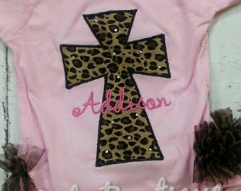 Cheetah cross onesie with Chiffon ruffles and personalized with name