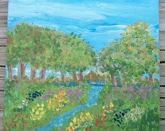 French Garden, Tiny Art, Original Garden Painting, Tiny Garden Painting