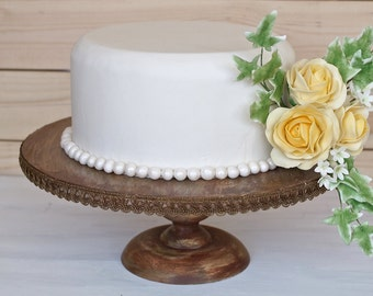 12 Inch Cake Stand Cupcake Stand Pedestal Stand Vintage Inspired with Vintage Trim